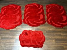 ROMANY TRAVELLERS MATS SETS 4PCS NON SLIP LARGE SIZES 75CMx125CM SUPER THICK RED